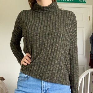Forest Olive Green High Low Turtleneck Sweater